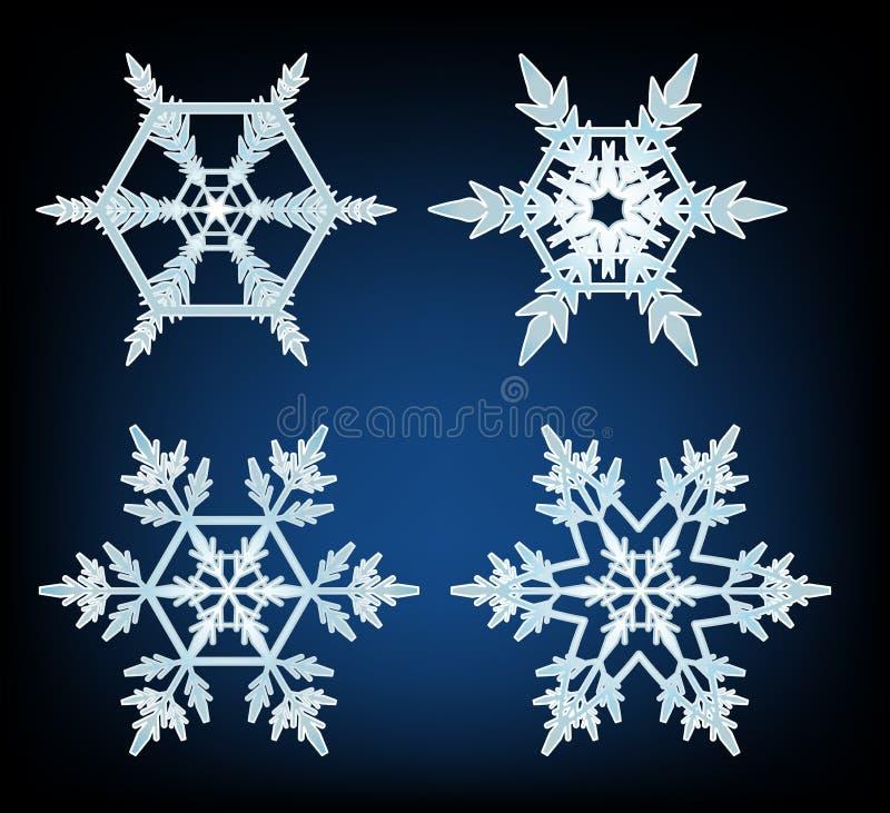 Fyra designer av snöflingor på blå bakgrund vektor illustrationer