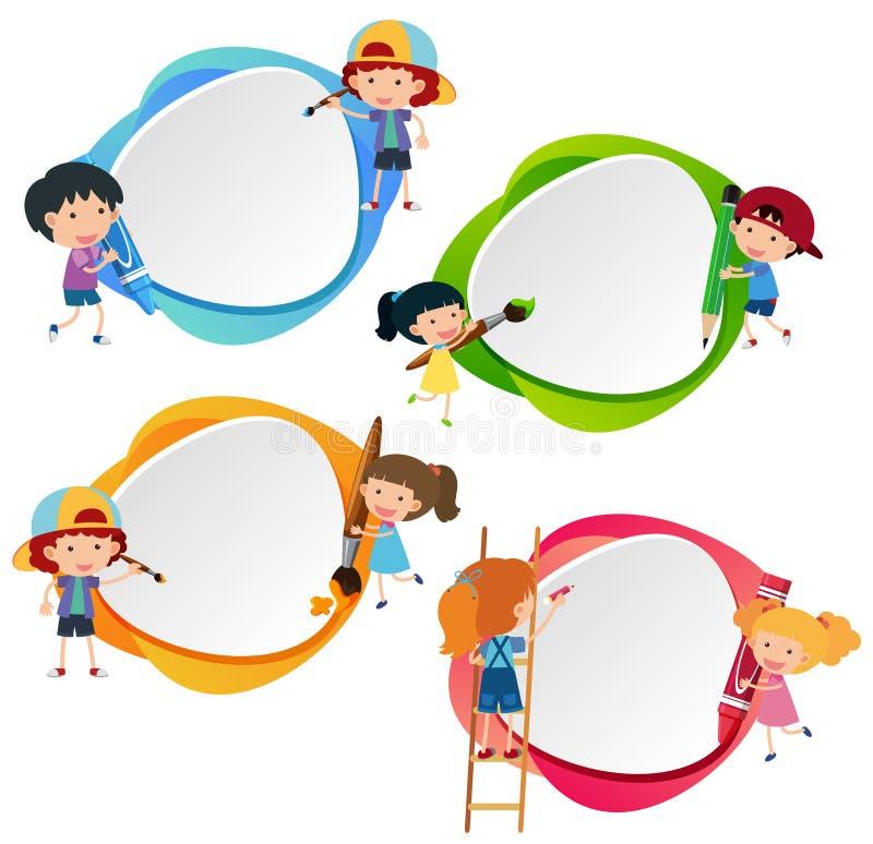 Fyra emblem med ungar och färgpennor royaltyfri illustrationer