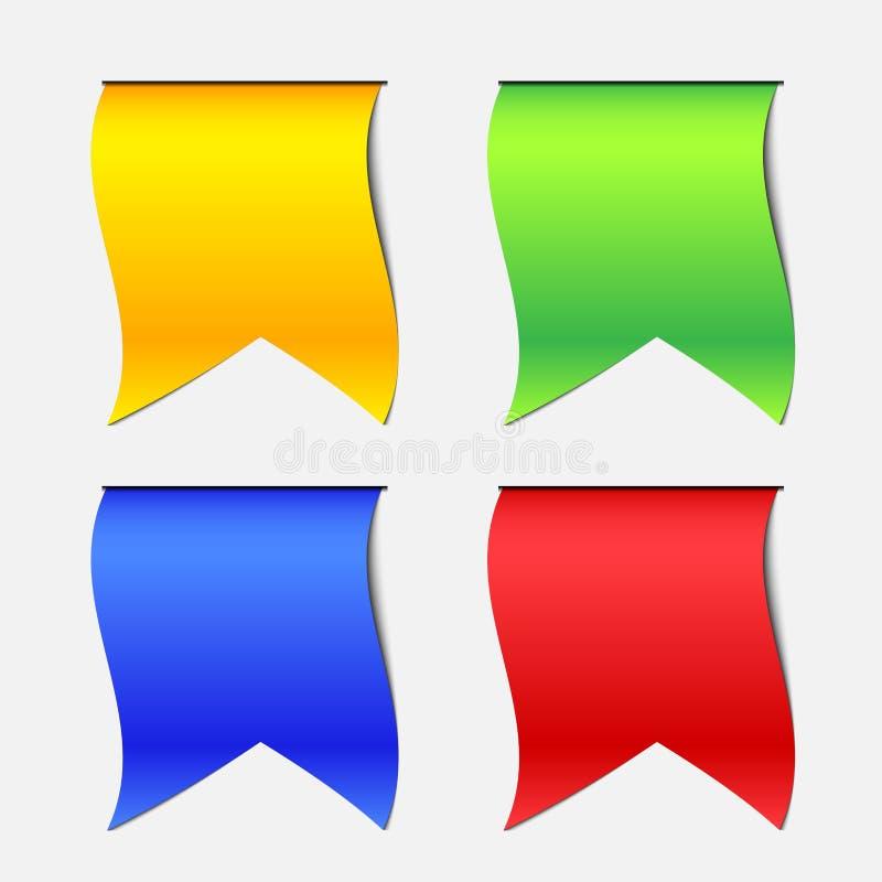 Fyra färg Hang Down Ribbon Banner royaltyfri illustrationer