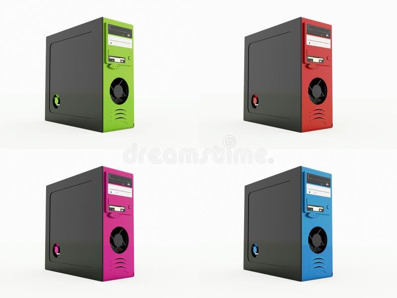 Fyra färgade PC som isoleras på vit royaltyfri illustrationer