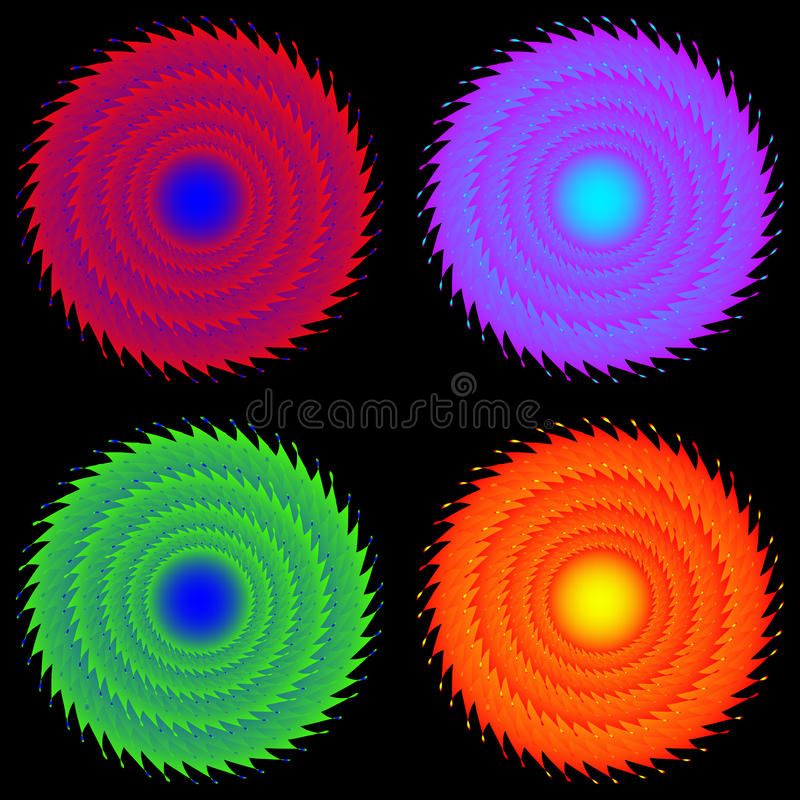 Fyra färgat kugghjul royaltyfri illustrationer