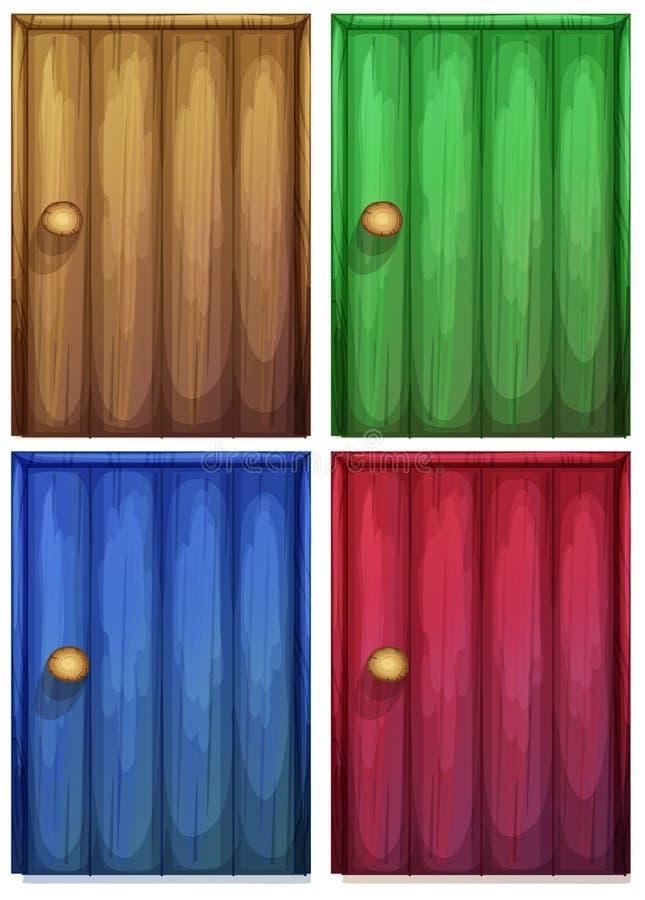 Fyra färgglade dörrar stock illustrationer