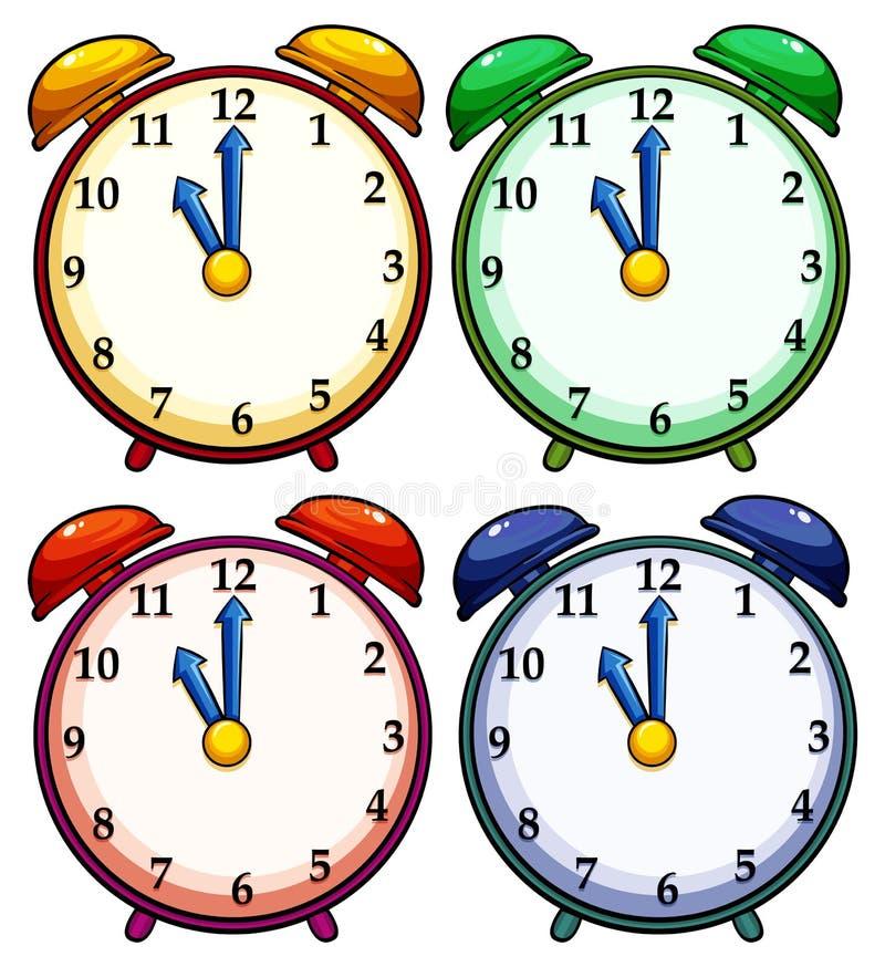 Fyra färgglade klockor stock illustrationer