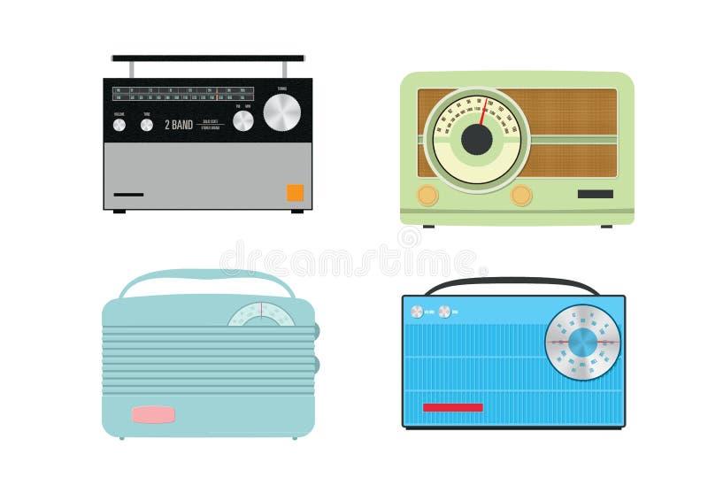 Fyra färgglade retro vektorradior stock illustrationer