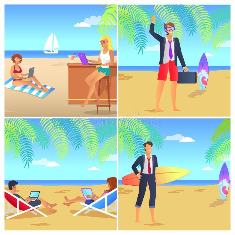 Fyra färgrika affischer med Businessmans på stranden royaltyfri illustrationer