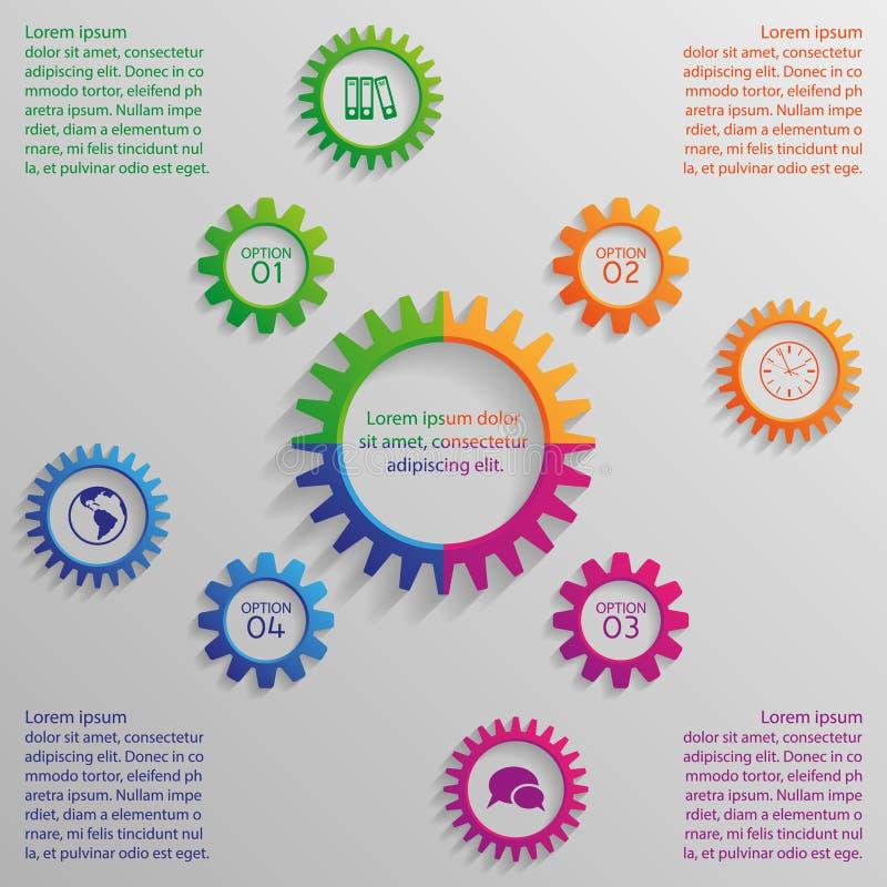 Fyra färgrika alternativkugghjul av infographic stock illustrationer