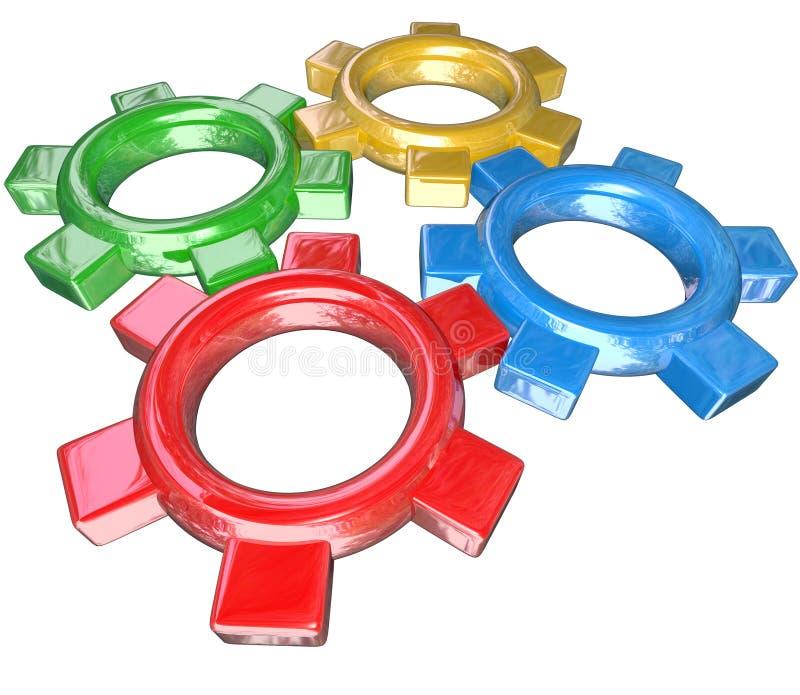 Fyra färgrika kugghjul som tillsammans vänder i unisont - teamwork Synerg stock illustrationer
