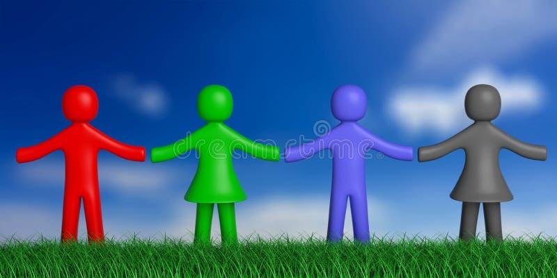 Fyra färgrika människadiagram på gräs, natur som rymmer händer, bakgrund för blå himmel illustration 3d vektor illustrationer