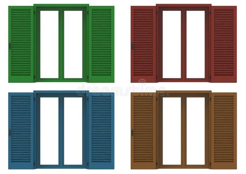 Fyra fönster som är öppet med kulöra venetian slutare, closeup främre v stock illustrationer