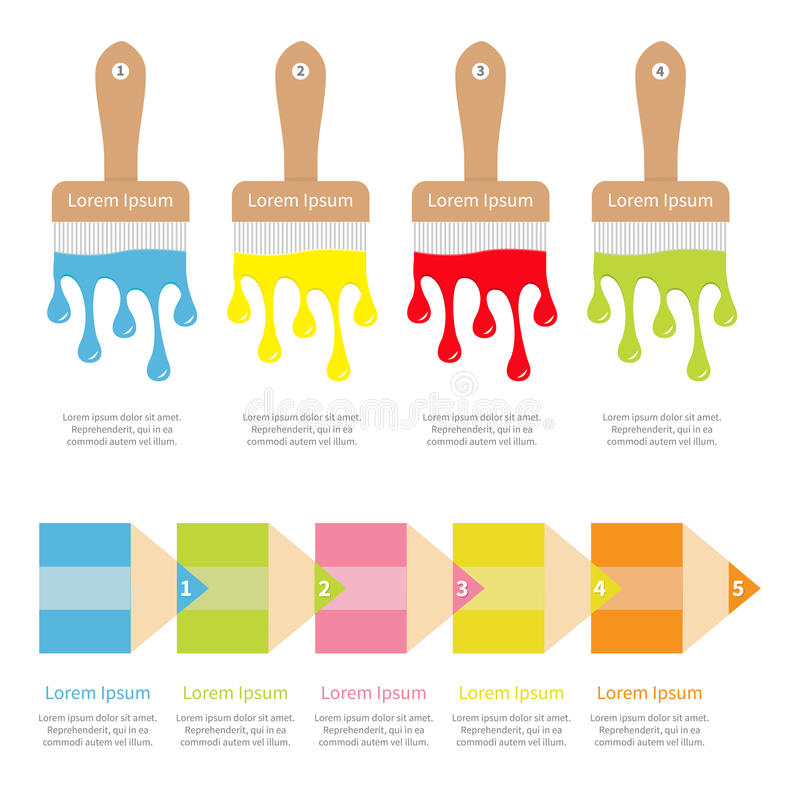 Fyra för TimelineInfographic för fem moment uppsättning mall Målarpensel blyertspennasymbol color droppar Flöda ner stekflottmåla royaltyfri illustrationer