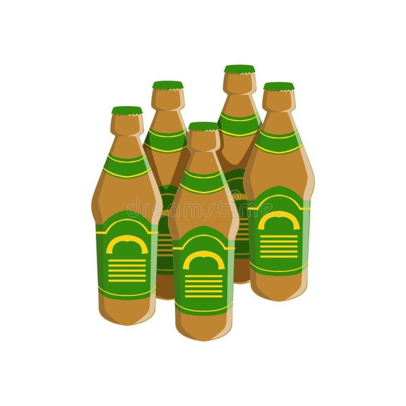 Fyra flaskor av Staut öl med den gröna etiketten, objekt för meny för stång för Oktoberfest festivaldrinkar royaltyfri illustrationer