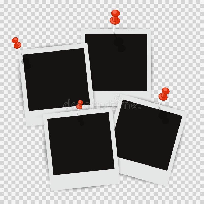 Fyra fotoramar på väggen med fäst skugga vektor illustrationer