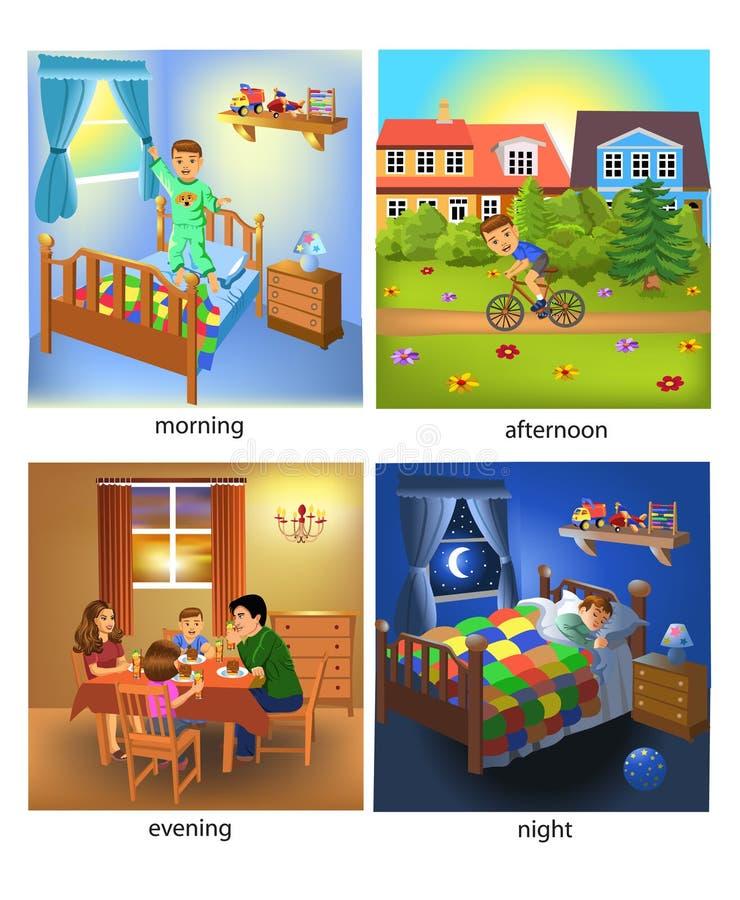 Fyra gånger av dagen: morgon, eftermiddag, afton och natt stock illustrationer