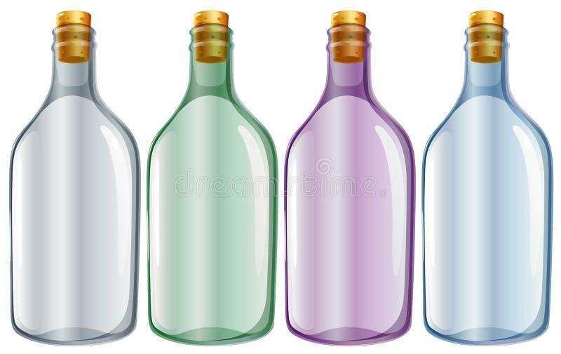 Fyra glasflaskor stock illustrationer