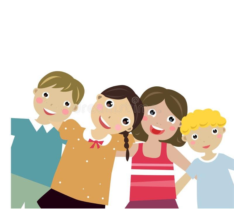 fyra goda ungar för vän royaltyfri illustrationer