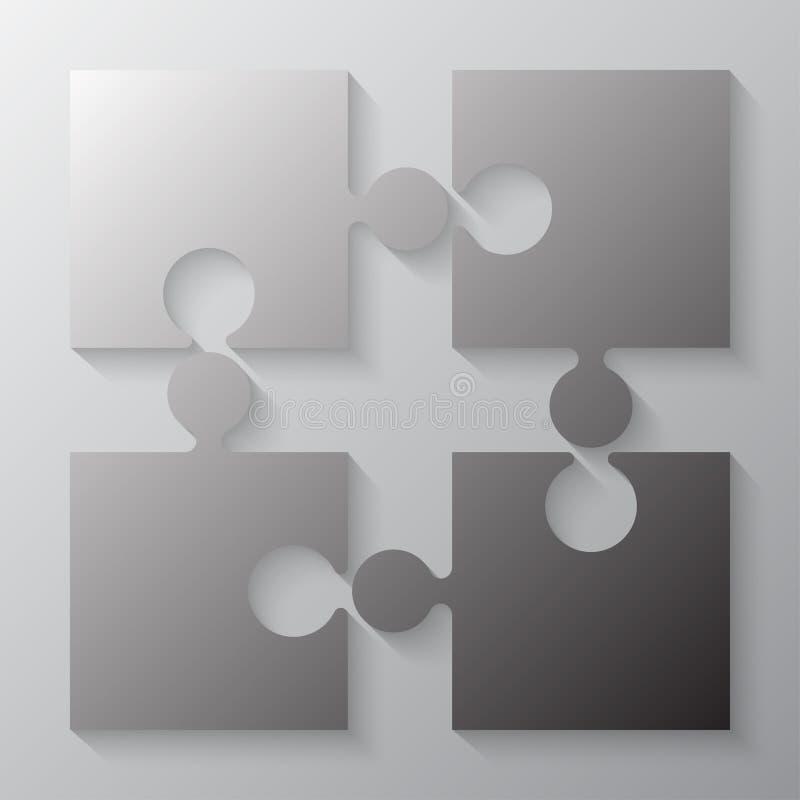 Fyra Grey Piece Jigsaw Puzzle Avsnitt fyra vektor illustrationer