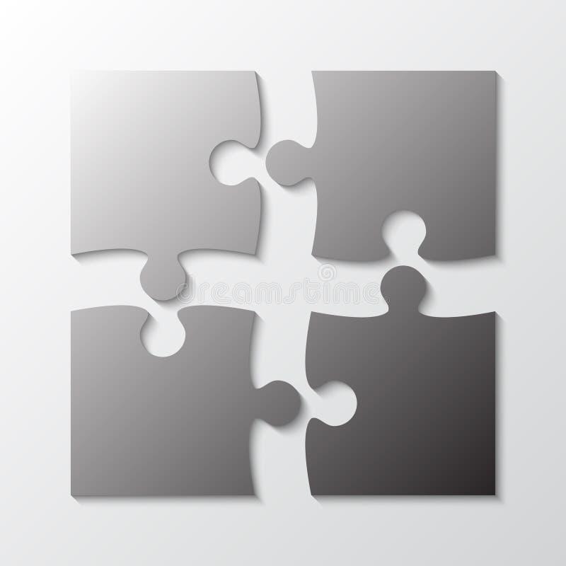 Fyra Grey Piece Jigsaw Puzzle Avsnitt fyra stock illustrationer