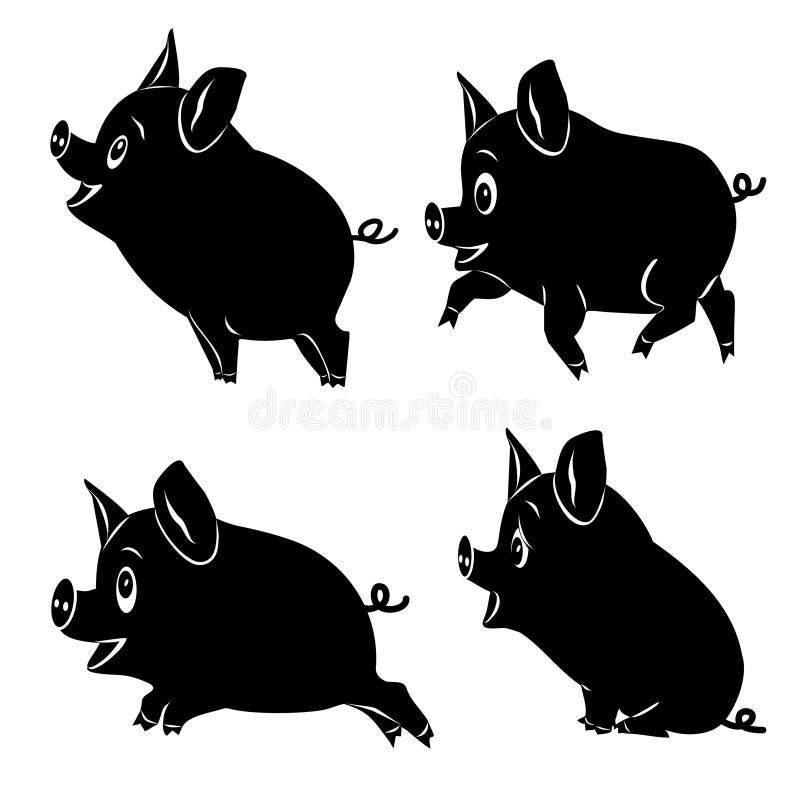 Fyra gulliga tecknad filmsvin Uppsättning av svarta konturer vektor illustrationer