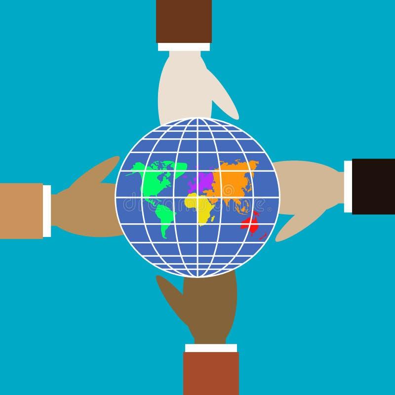 Fyra händer av olika färger rymmer jordklotet stock illustrationer