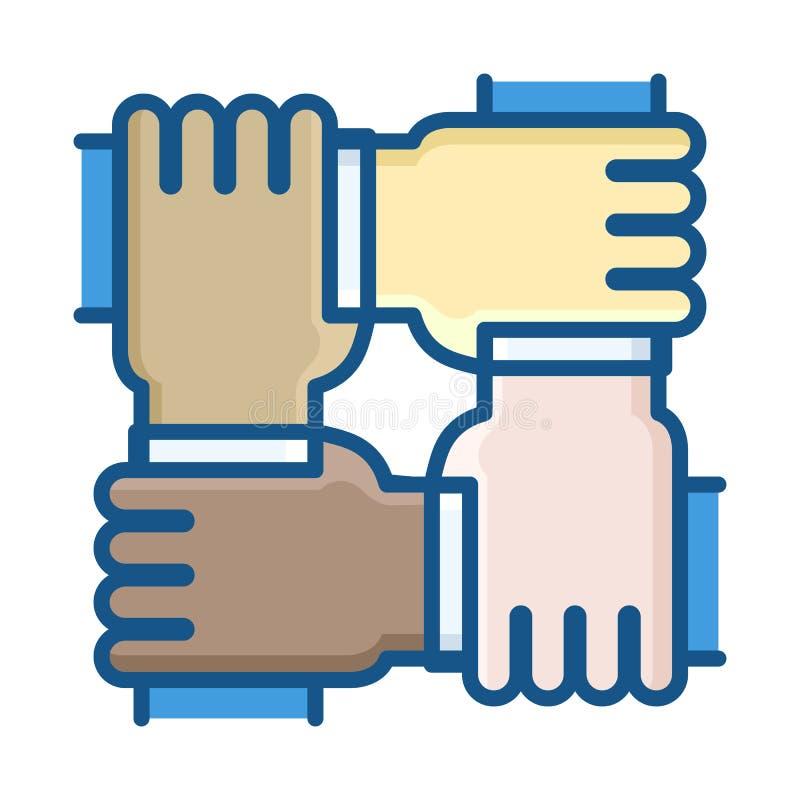 Fyra händer av olika folkgrupper som tillsammans arbetar som ett lag vektor illustrationer