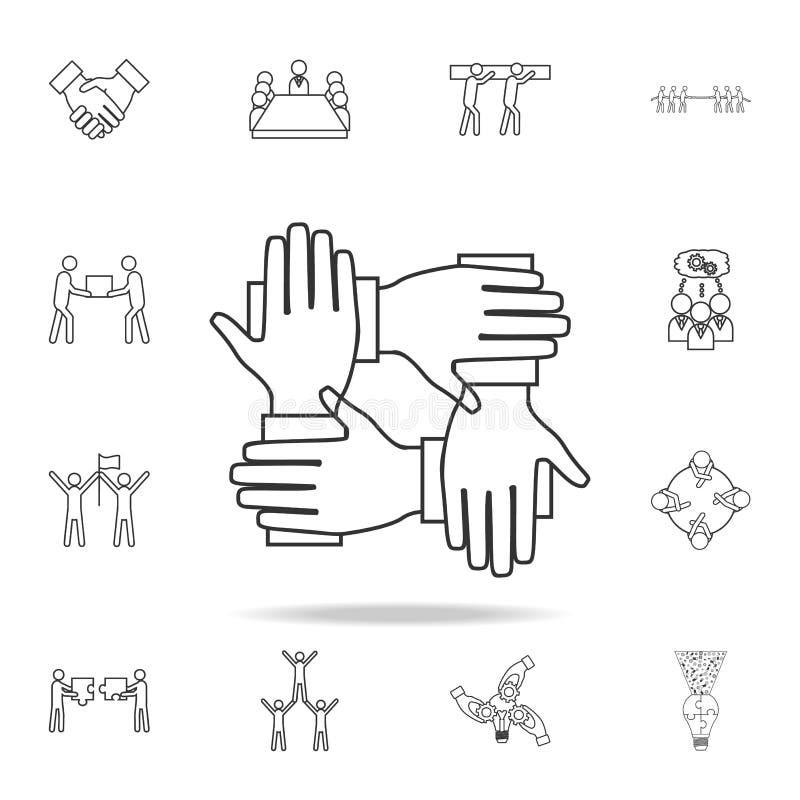 Fyra händer rymmer tillsammans symbolen Detaljerad uppsättning av symboler för lagarbetsöversikt Högvärdig kvalitets- symbol för  royaltyfri illustrationer