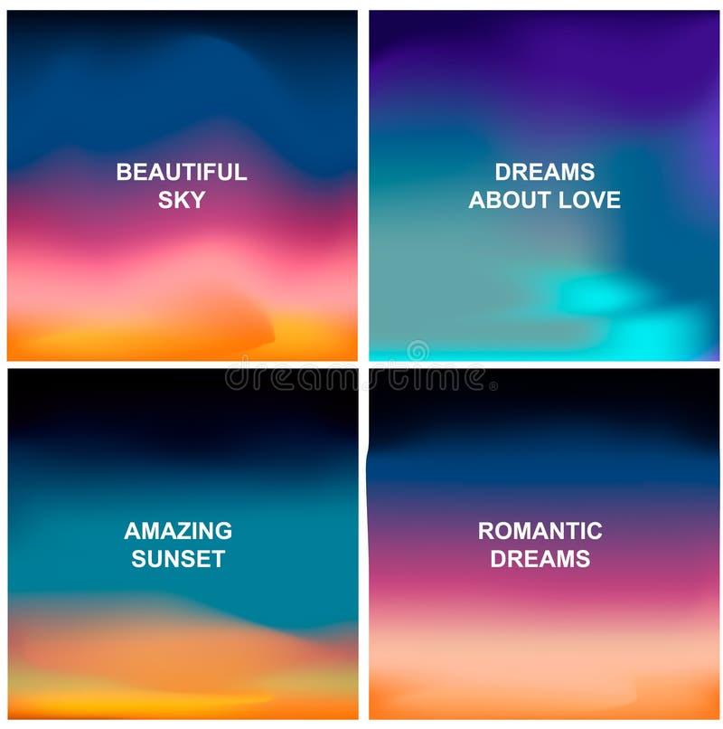 Fyra härliga bakgrunder Suddiga abstrakta bakgrunder gillar soluppgång, solnedgång eller fantastisk himmel vektor illustrationer