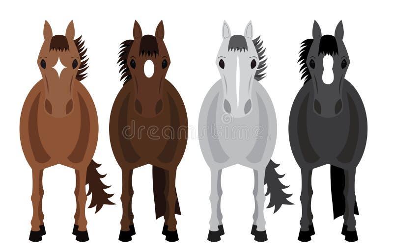 Fyra hästar stock illustrationer