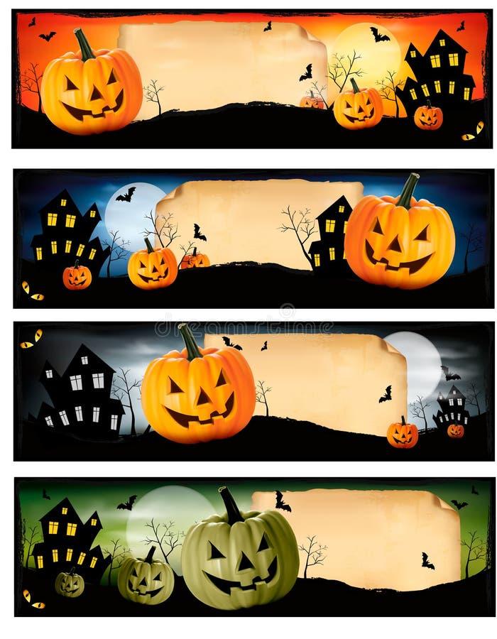 Fyra Halloween baner vektor illustrationer