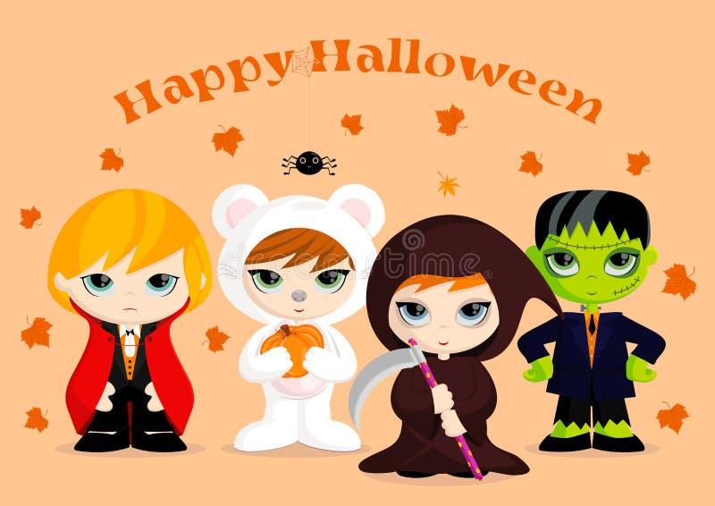 Fyra Halloween maskotar royaltyfri illustrationer