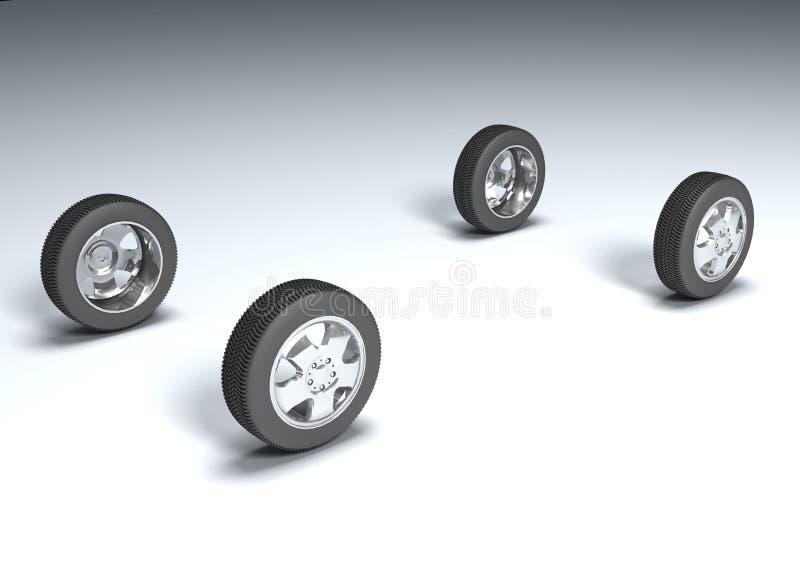 fyra hjul vektor illustrationer