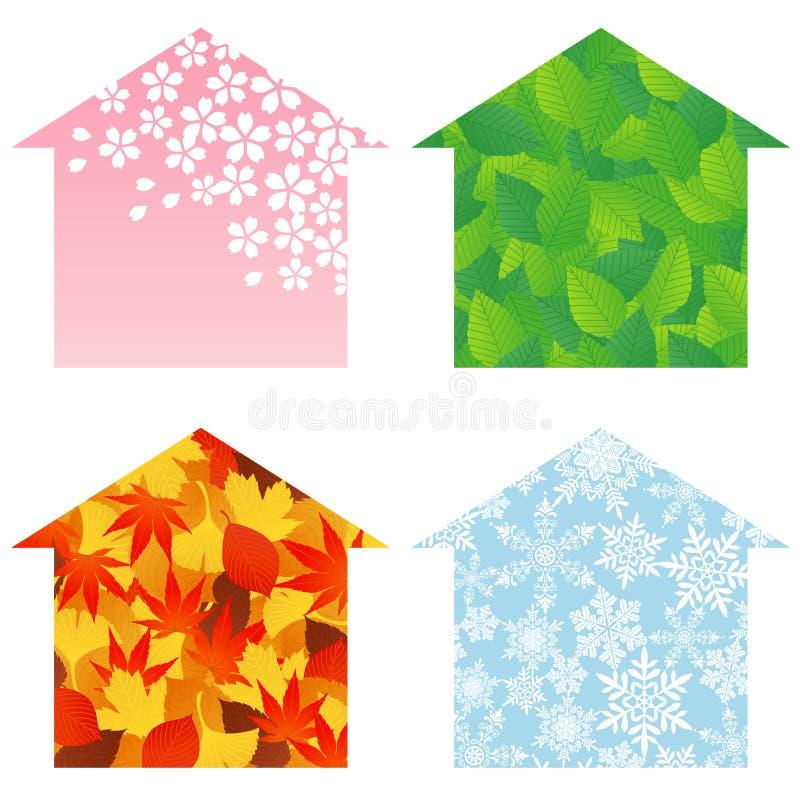 fyra hussäsonger royaltyfri illustrationer