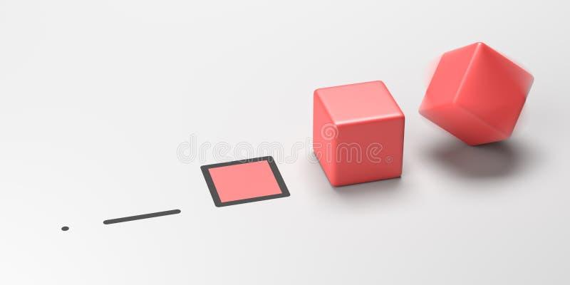 Fyra illustrationbegrepp för mått 3D arkivfoto