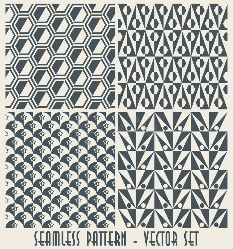 fyra inställda geometriska monokromma modeller royaltyfri illustrationer