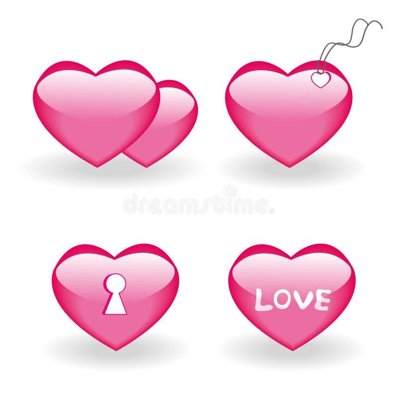 fyra inställda hjärtasymboler royaltyfri illustrationer