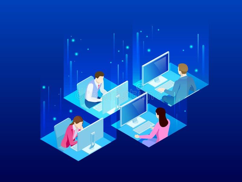 Fyra isometriska kontorsarbetare i kontoret Begrepp för affärsCo-arbete utrymme Affärskollegor som arbetar på ett upptaget royaltyfri illustrationer