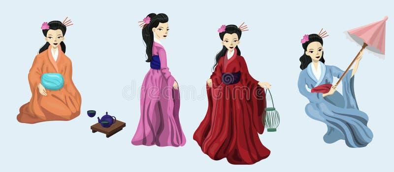 Fyra japanska flickor i nationell dräktvektorbild royaltyfri illustrationer