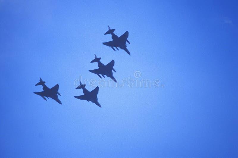 Fyra Jet Fighters Flying i bildande, Washington, D C arkivfoto