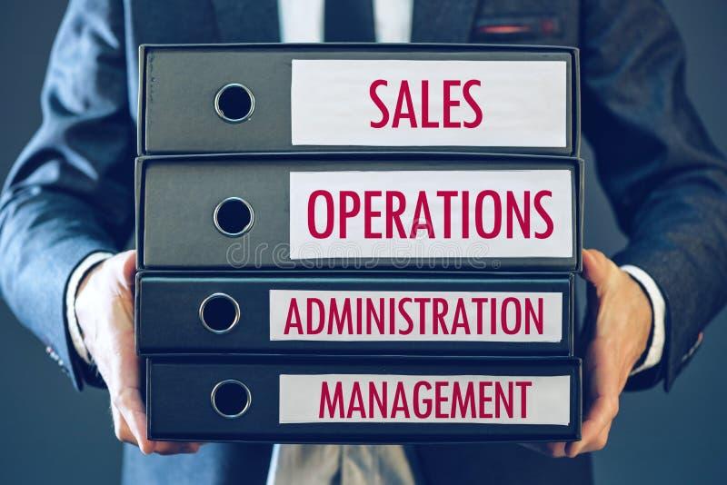 Fyra kärnaaffärsfunktioner - försäljningar, operationer, administration arkivfoto