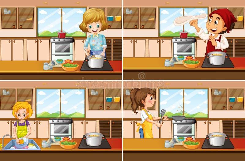 Fyra kökplatser med man- och kvinnamatlagning stock illustrationer