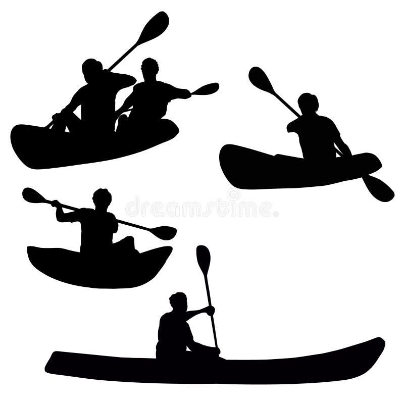 Fyra kayakers isolerade konturer stock illustrationer