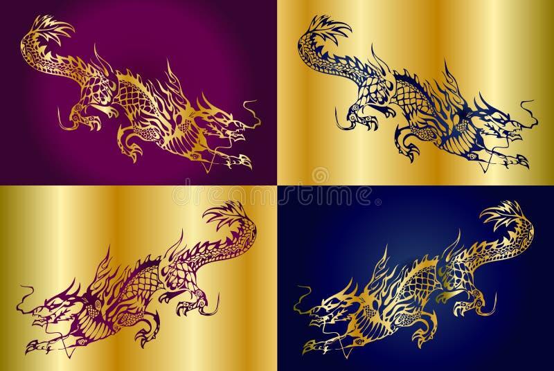 Fyra kinesiska drakar vektor illustrationer