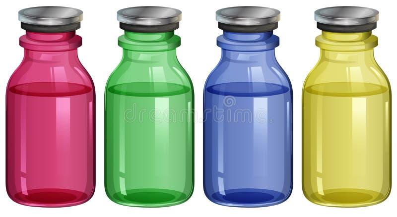 Fyra klara flaskor royaltyfri illustrationer