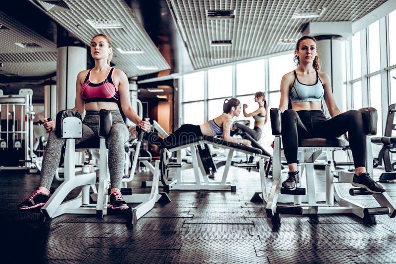 Fyra kvinnor i idrottshallen som gör styrkautbildning på simulatorn royaltyfri fotografi