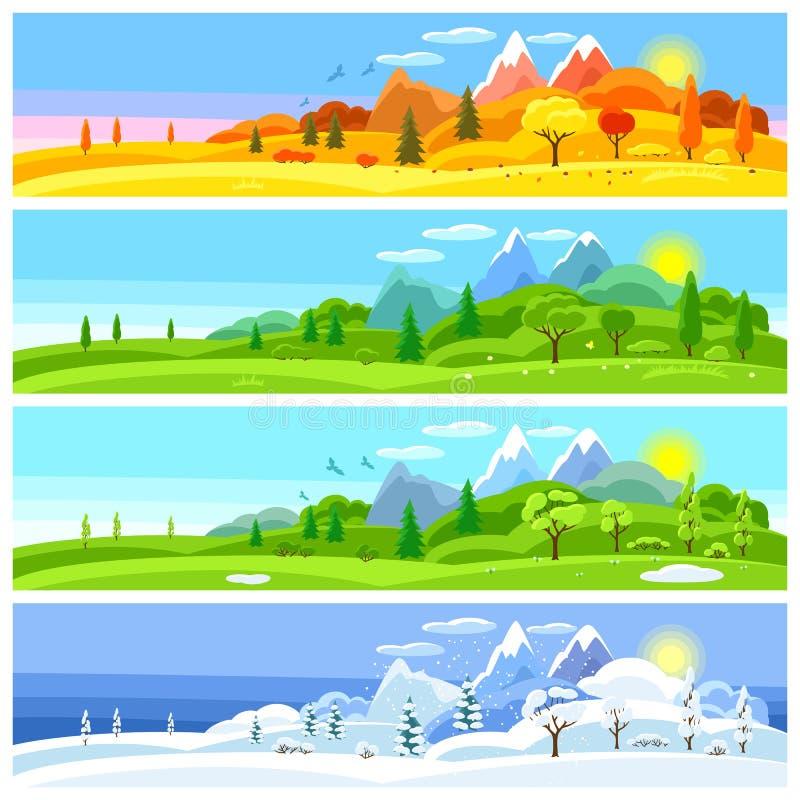 fyra liggandesäsonger Baner med träd, berg och kullar i vintern, vår, sommar, höst royaltyfri illustrationer