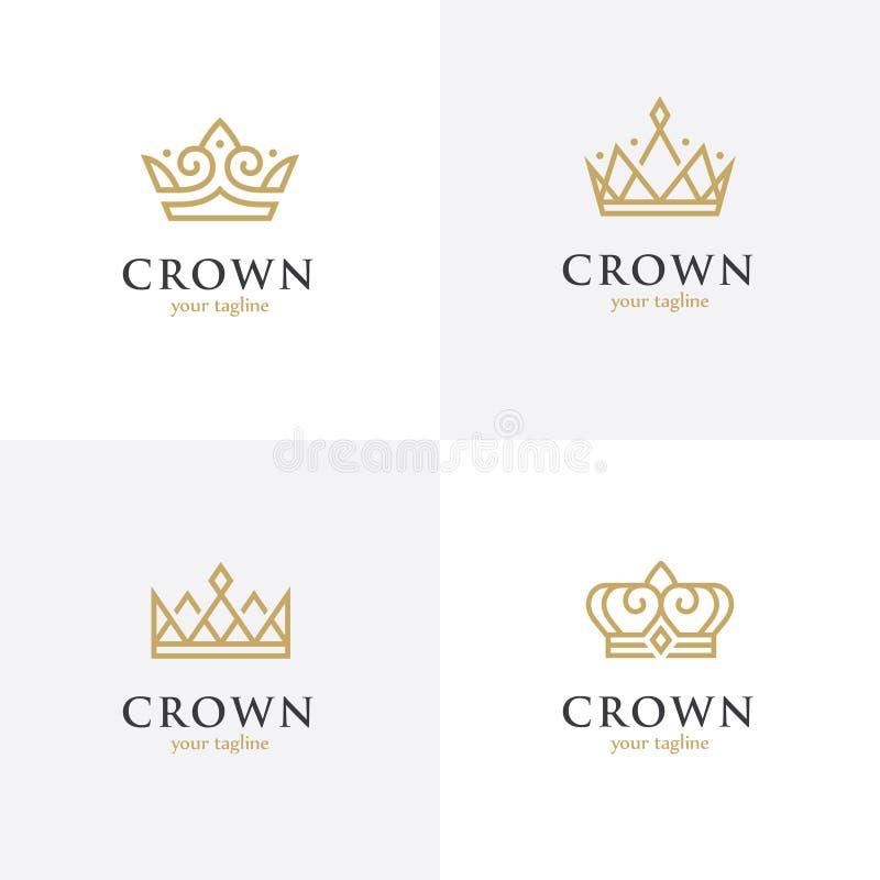Fyra linjära kronasymboler royaltyfri illustrationer