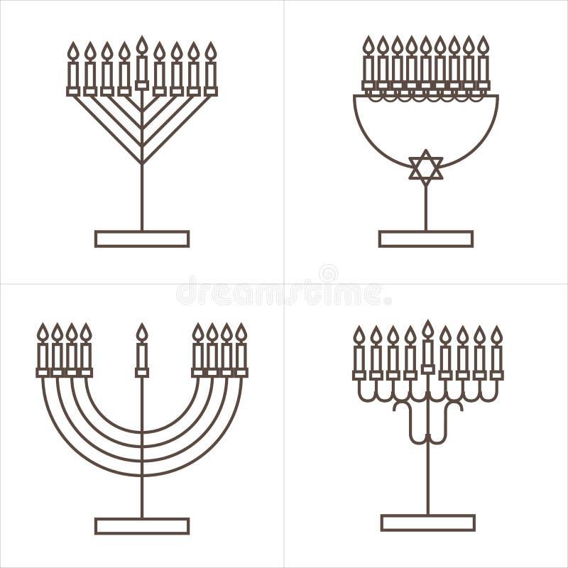 Fyra ljusstakar med nio stearinljus Ljusstake med stearinljus för Chanukkah vektor illustrationer