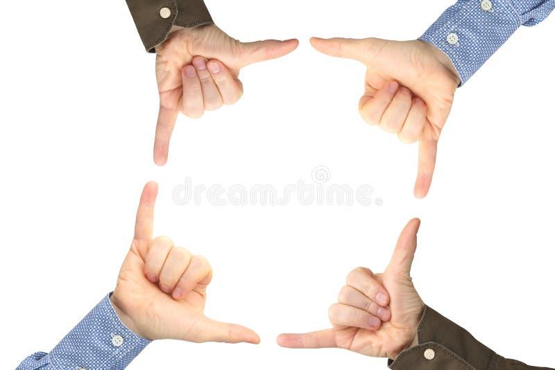 Fyra manliga h?nder med gester mitt emot de p? en vit bakgrund royaltyfri bild