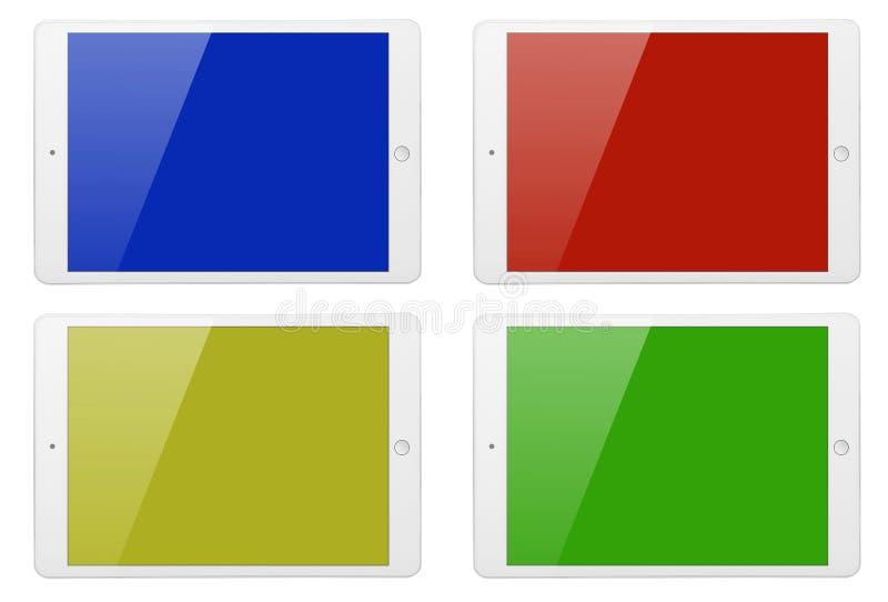 Fyra minnestavladatorer med färgskärmar arkivfoto