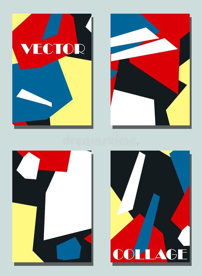 Fyra moderiktiga räkningar med grafiska beståndsdelar - abstrakta former Två moderna vektorreklamblad i avantgardestil geometrisk royaltyfri illustrationer