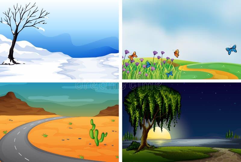 Fyra naturplatser dygnet runt royaltyfri illustrationer